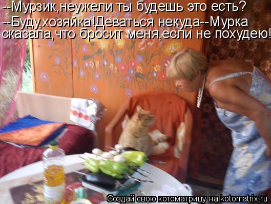Котоматрица: --Мурзик,неужели ты будешь это есть? --Буду,хозяйка!Деваться некуда--Мурка сказала,что бросит меня,если не похудею!