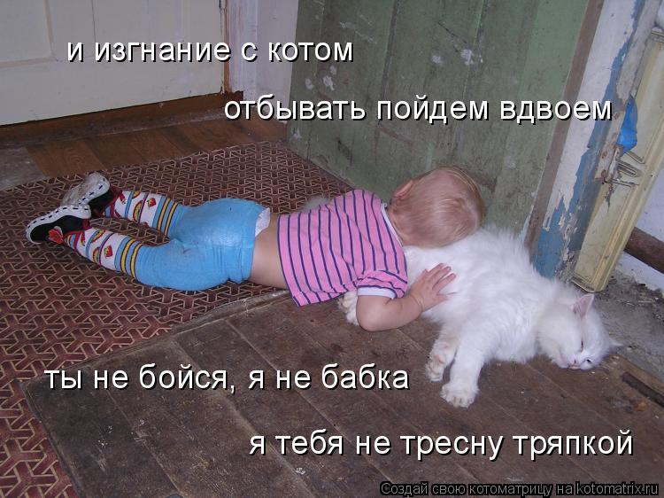 Котоматрица: и изгнание с котом  отбывать пойдем вдвоем ты не бойся, я не бабка я тебя не тресну тряпкой