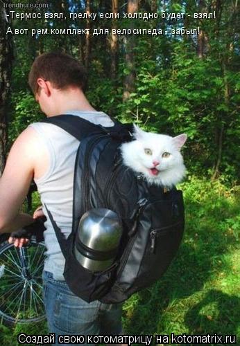 Котоматрица: -Термос взял, грелку если холодно будет - взял! А вот рем.комплект для велосипеда - забыл!