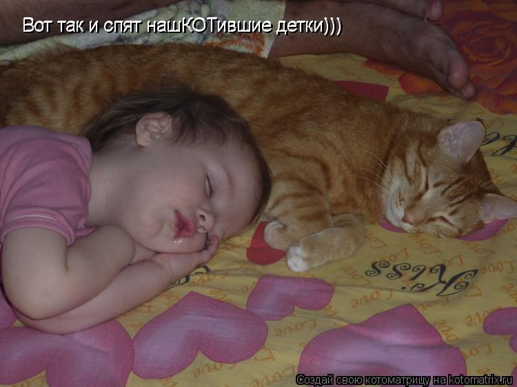Котоматрица: Вот так и спят нашКОТившие детки)))  Вот так и спят нашКОТившие детки)))