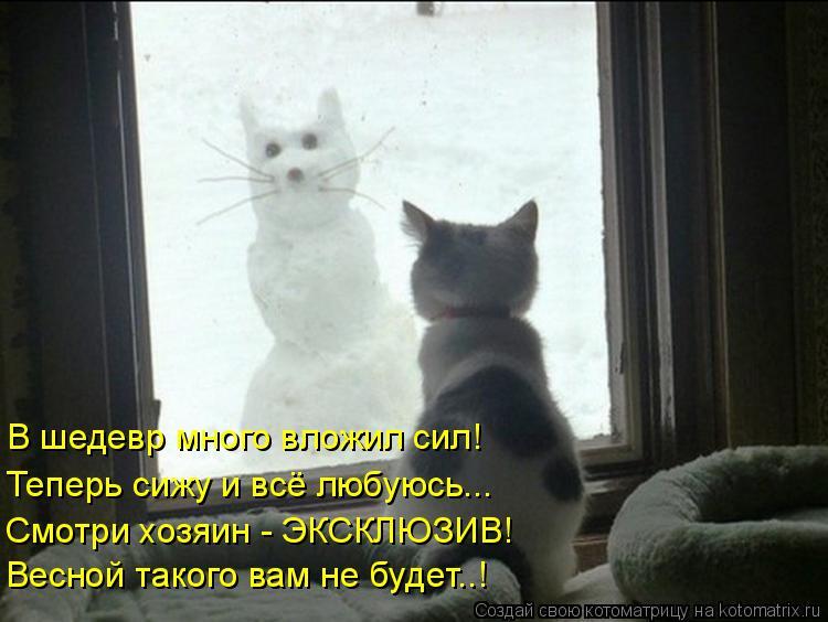 Котоматрица: В шедевр много вложил сил! Теперь сижу и всё любуюсь... Смотри хозяин - ЭКСКЛЮЗИВ! Весной такого вам не будет..!