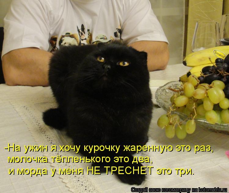 Котоматрица: -На ужин я хочу курочку жаренную это раз, молочка тёпленького это два, и морда у меня НЕ ТРЕСНЕТ это три.