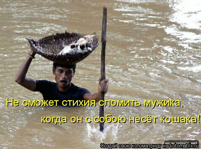 Котоматрица: Не сможет стихия сломить мужика, когда он с собою несёт кошака!