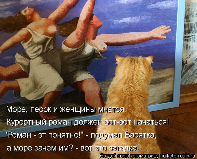 """Котоматрица: Море, песок и женщины мчатся! Курортный роман должен вот-вот начаться!  """"Роман - эт понятно!"""" - подумал Васятка, а море зачем им? - вот это загадк"""