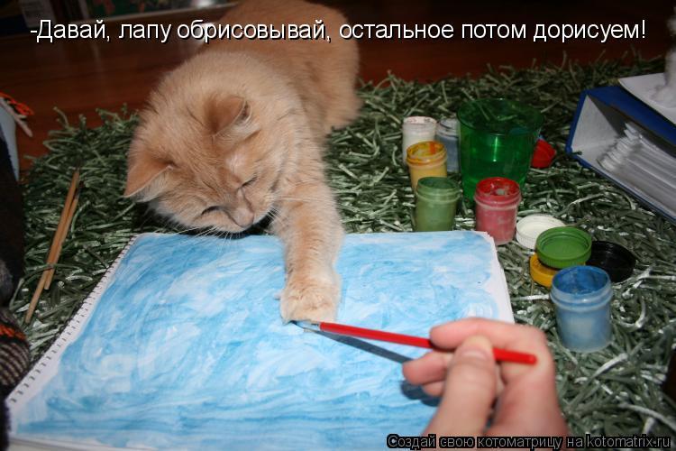 Котоматрица: -Давай, лапу обрисовывай, остальное потом дорисуем!