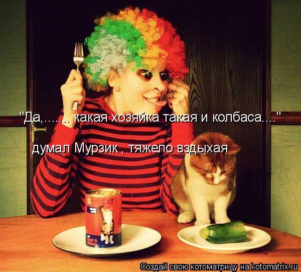"""Котоматрица: думал Мурзик , тяжело вздыхая """"Да,....... какая хозяйка такая и колбаса...."""""""