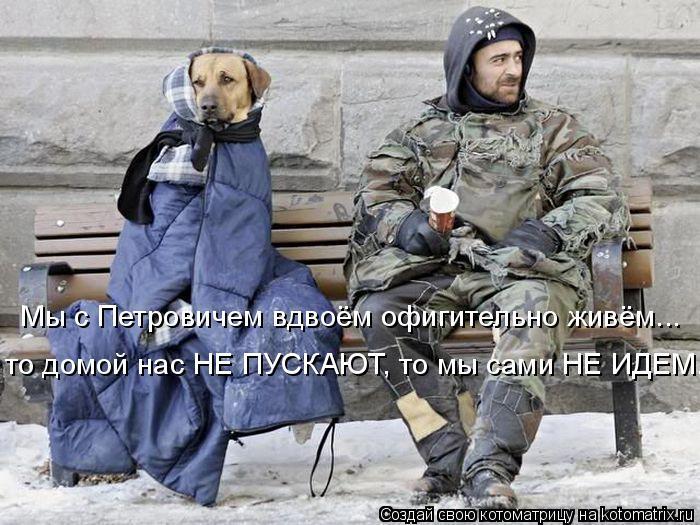Котоматрица: Мы с Петровичем вдвоём офигительно живём...  то домой нас НЕ ПУСКАЮТ, то мы сами НЕ ИДЕМ...