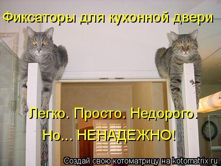 Котоматрица: Фиксаторы для кухонной двери Легко. Просто. Недорого.  Но... НЕНАДЕЖНО!