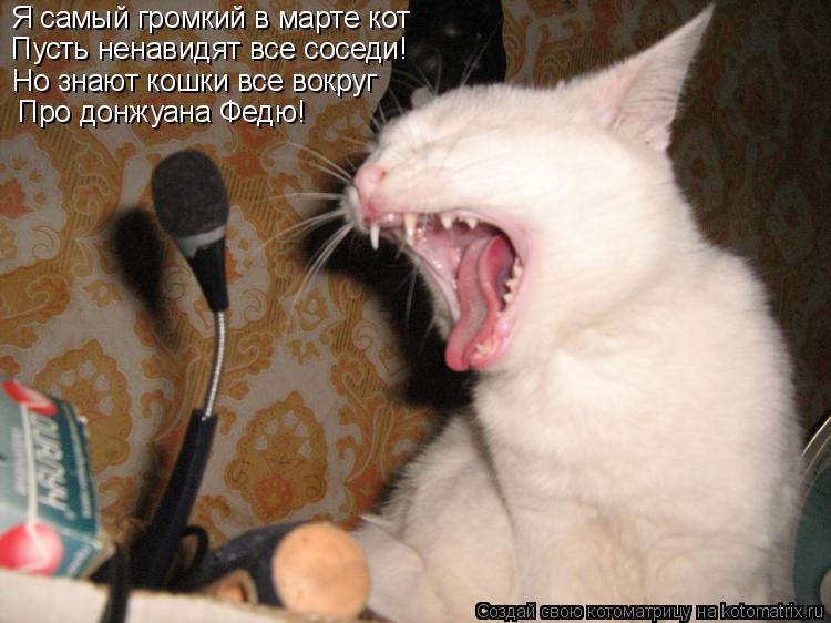 Котоматрица: Я самый громкий в марте кот Пусть ненавидят все соседи! Но знают кошки все вокруг Про донжуана Федю!