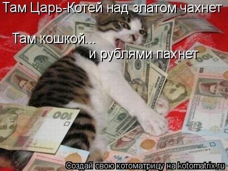 Котоматрица: Там Царь-Котей над златом чахнет Там кошкой... и рублями пахнет