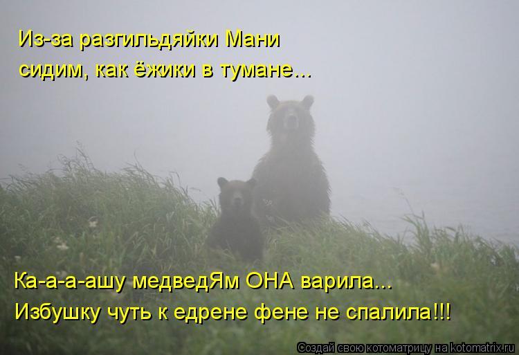 Котоматрица: Из-за разгильдяйки Мани сидим, как ёжики в тумане... Ка-а-а-ашу медведЯм ОНА варила... Избушку чуть к едрене фене не спалила!!!