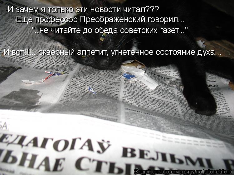 """Котоматрица: -И зачем я только эти новости читал??? Еще профессор Преображенский говорил... """"..не читайте до обеда советских газет..."""" И вот!!!...скверный аппет"""