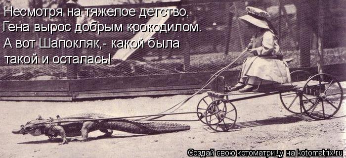 Котоматрица: Несмотря на тяжелое детство, Гена вырос добрым крокодилом. А вот Шапокляк,- какой была такой и осталась!