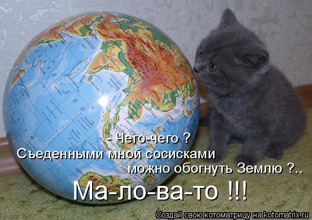 Котоматрица: - Чего-чего ? Съеденными мной сосисками можно обогнуть Землю ?.. Ма-ло-ва-то !!!