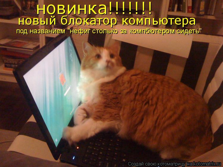 """Котоматрица: новинка!!!!!!! новый блокатор компьютера под названием """"нефиг столько за компбютером сидеть"""""""