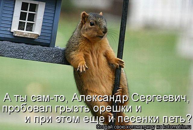 Котоматрица: А ты сам-то, Александр Сергеевич, пробовал грызть орешки и  и при этом еще и песенки петь?