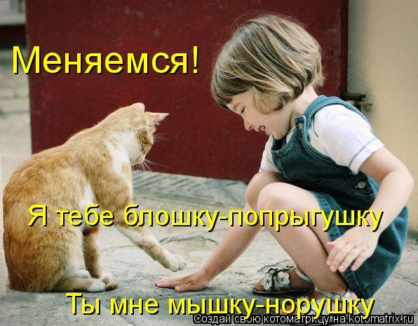 Котоматрица: Я тебе блошку-попрыгушку Меняемся! Ты мне мышку-норушку
