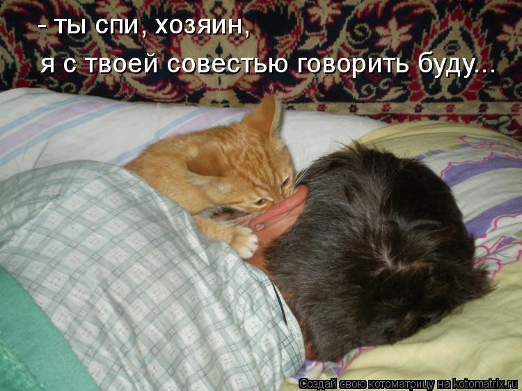 Котоматрица: - ты спи, хозяин, я с твоей совестью говорить буду...