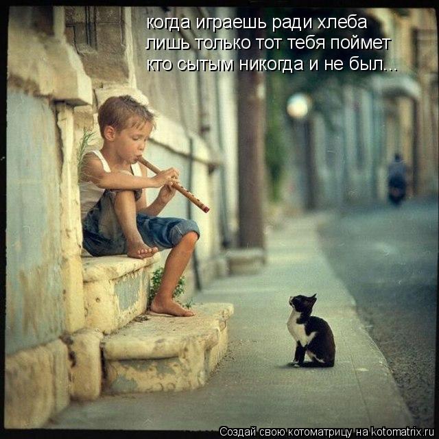 Котоматрица: когда играешь ради хлеба лишь только тот тебя поймет кто сытым никогда и не был...