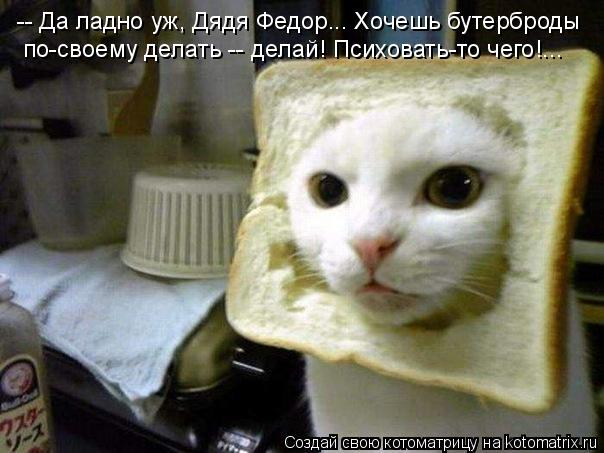 Котоматрица: -- Да ладно уж, Дядя Федор... Хочешь бутерброды  по-своему делать -- делай! Психовать-то чего!...