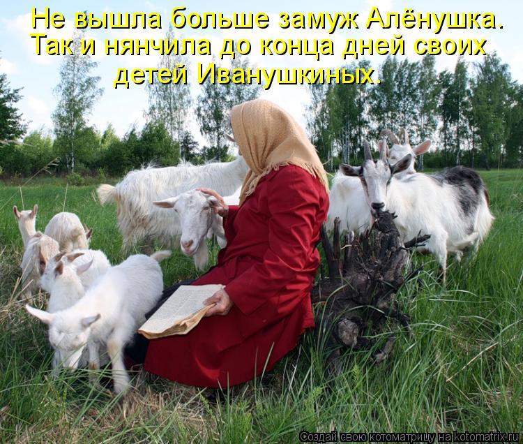 Котоматрица: Не вышла больше замуж Алёнушка. Так и нянчила до конца дней своих детей Иванушкиных.