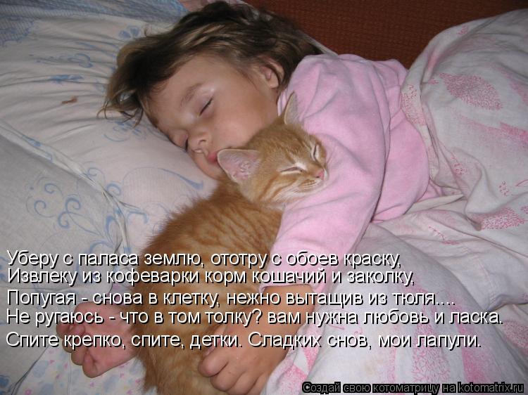 Котоматрица: Спите крепко, спите, детки. Сладких снов, мои лапули. Уберу с паласа землю, ототру с обоев краску, Попугая - снова в клетку, нежно вытащив из тю