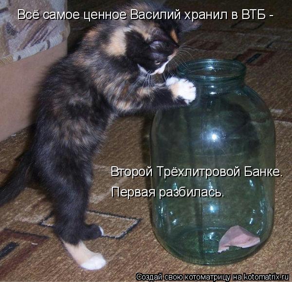 Котоматрица - Всё самое ценное Василий хранил в ВТБ -     Второй Трёхлитровой Банке.