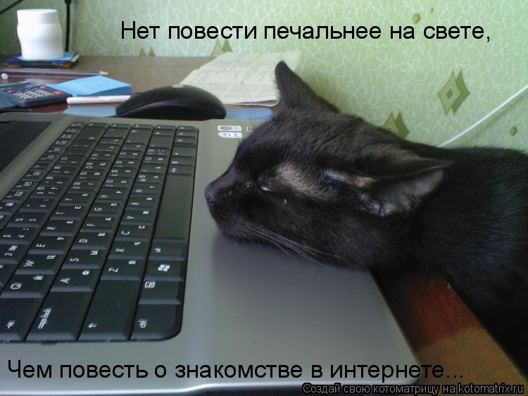 Котоматрица: Нет повести печальнее на свете,  Чем повесть о знакомстве в интернете...