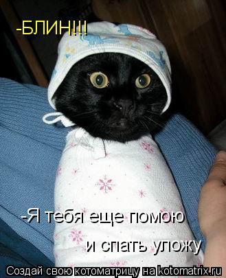 Котоматрица: -Я тебя еще помою  и спать уложу -БЛИН!!!