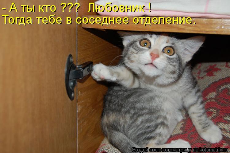 Котоматрица: - А ты кто ???  Любовник ! Тогда тебе в соседнее отделение.