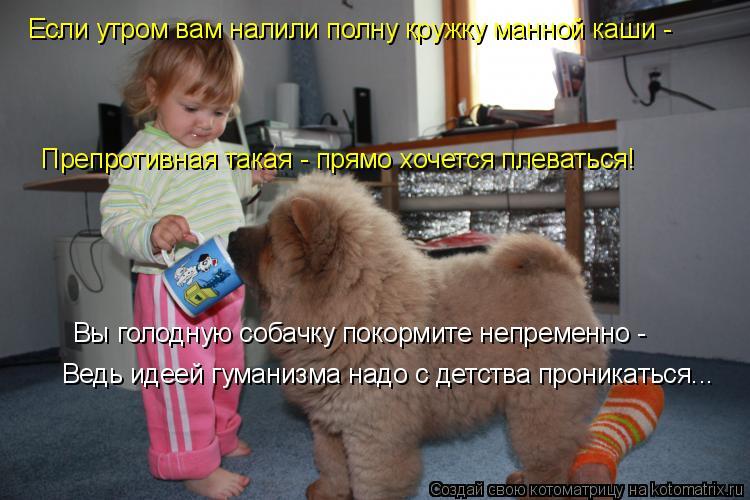 Вы голодную собачку покормите непременно -  Ведь идеей гуманизма надо с детства проникаться... Препротивная такая - прямо хочется плеваться! Если утро
