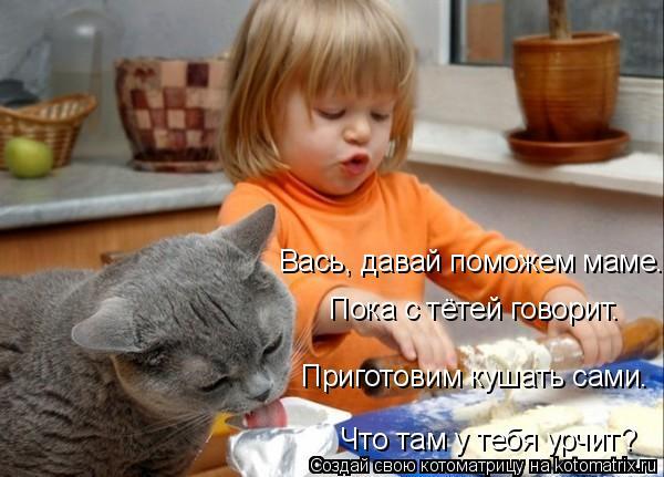 Котоматрица: Вась, давай поможем маме. Пока с тётей говорит. Что там у тебя урчит? Приготовим кушать сами.