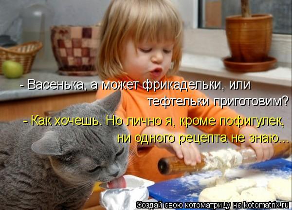 Котоматрица: - Васенька, а может фрикадельки, или тефтельки приготовим? ни одного рецепта не знаю... - Как хочешь. Но лично я, кроме пофигулек,