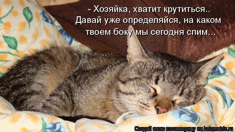Котоматрица: - Хозяйка, хватит крутиться.. Давай уже определяйся, на каком  твоем боку мы сегодня спим...