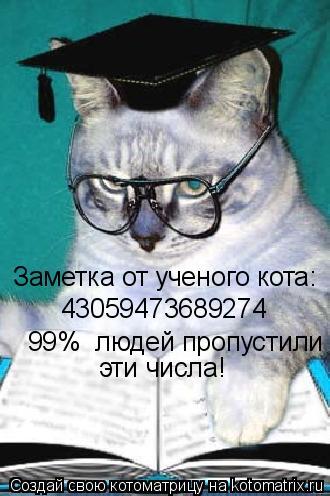 Котоматрица: Заметка от ученого кота: 43059473689274    99%  людей пропустили эти числа!