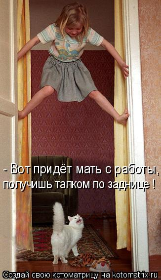 Котоматрица: - Вот придёт мать с работы, получишь тапком по заднице !