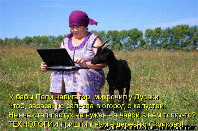 Котоматрица: У бабы Поли навигатор, микрочип у Дуськи, Чтоб, зараза, не залезла в огород с капустой. Нынче стал пастух не нужен - а чавой в нём толку-то? ТЕХ