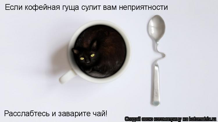 Котоматрица: Если кофейная гуща сулит вам неприятности Расслабтесь и заварите чай!