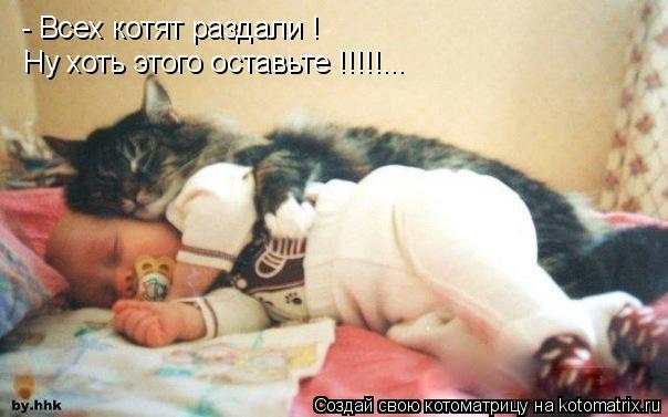 Котоматрица: - Всех котят раздали ! Ну хоть этого оставьте !!!!!...