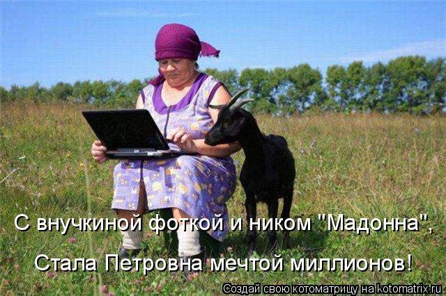 """Котоматрица: С внучкиной фоткой и ником """"Мадонна"""",  Стала Петровна мечтой миллионов!"""