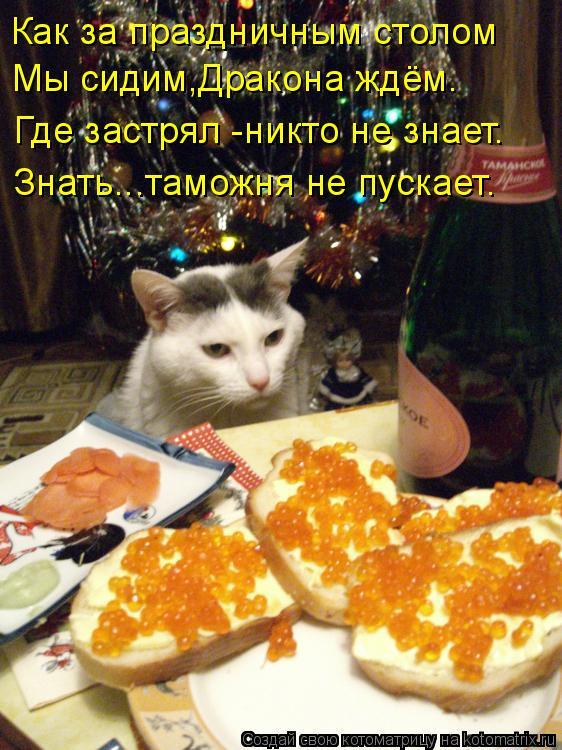 Котоматрица: Как за праздничным столом Мы сидим,Дракона ждём. Где застрял -никто не знает. Знать...таможня не пускает.