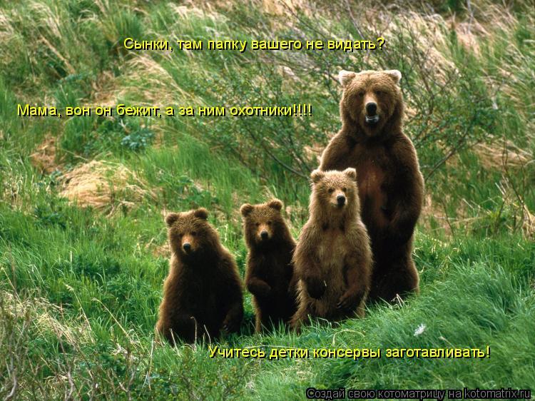 Котоматрица: Сынки, там папку вашего не видать? Мама, вон он бежит, а за ним охотники!!!! Учитесь детки консервы заготавливать!