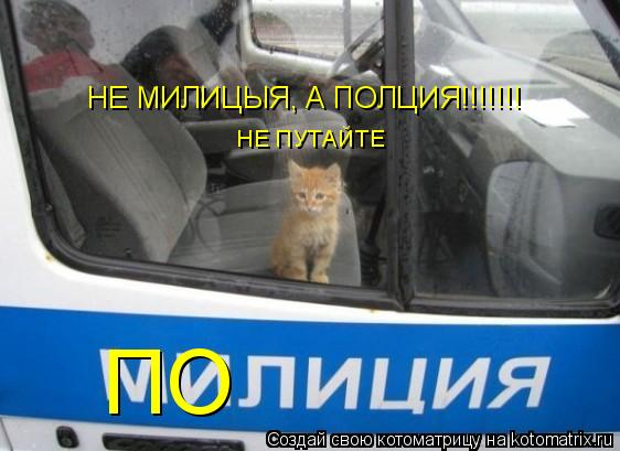 Котоматрица: НЕ МИЛИЦЫЯ, А ПОЛЦИЯ!!!!!!! ПО НЕ ПУТАЙТЕ
