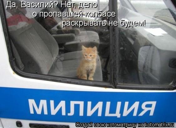 Котоматрица: Да, Василий? Нет, дело  о пропавшей колбасе  раскрывать не будем!
