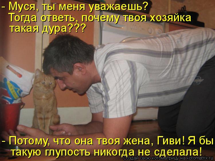 Котоматрица: Тогда ответь, почему твоя хозяйка  такая дура??? - Муся, ты меня уважаешь? такую глупость никогда не сделала! - Потому, что она твоя жена, Гиви! Я