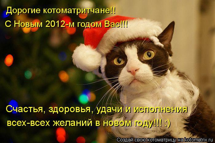 Котоматрица: Дорогие котоматритчане!!  С Новым 2012-м годом Вас!!! Счастья, здоровья, удачи и исполнения всех-всех желаний в новом году!!! :)