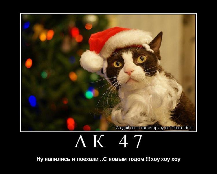 Котоматрица: АК 47 Ну напились и поехали ..С новым годом !!!хоу хоу хоу