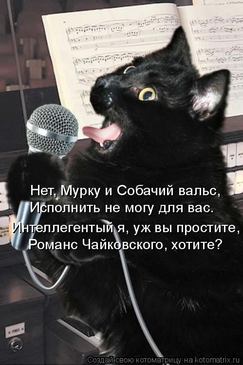 Котоматрица: Нет, Мурку и Собачий вальс, Исполнить не могу для вас. Интеллегентый я, уж вы простите, Романс Чайковского, хотите?