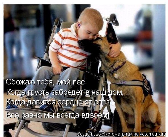 Котоматрица: Обожаю тебя, мой пес!   Когда грусть забредет в наш дом,   Когда давится сердце от слез -   Все равно мы всегда вдвоем!