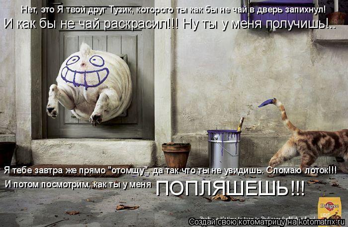 Котоматрица: Нет, это Я твой друг Тузик, которого ты как бы не чай в дверь запихнул! И как бы не чай раскрасил!!! Ну ты у меня получишь!.. Я тебе завтра же прям